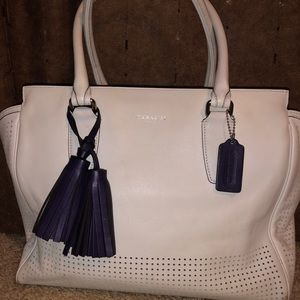 White perforated Coach purse